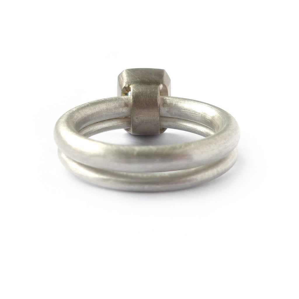 SOLD: Silver, 18k White Gold and Aquamarine Ring (OF09) - Sue Lane Contemporary Jewellery - 3