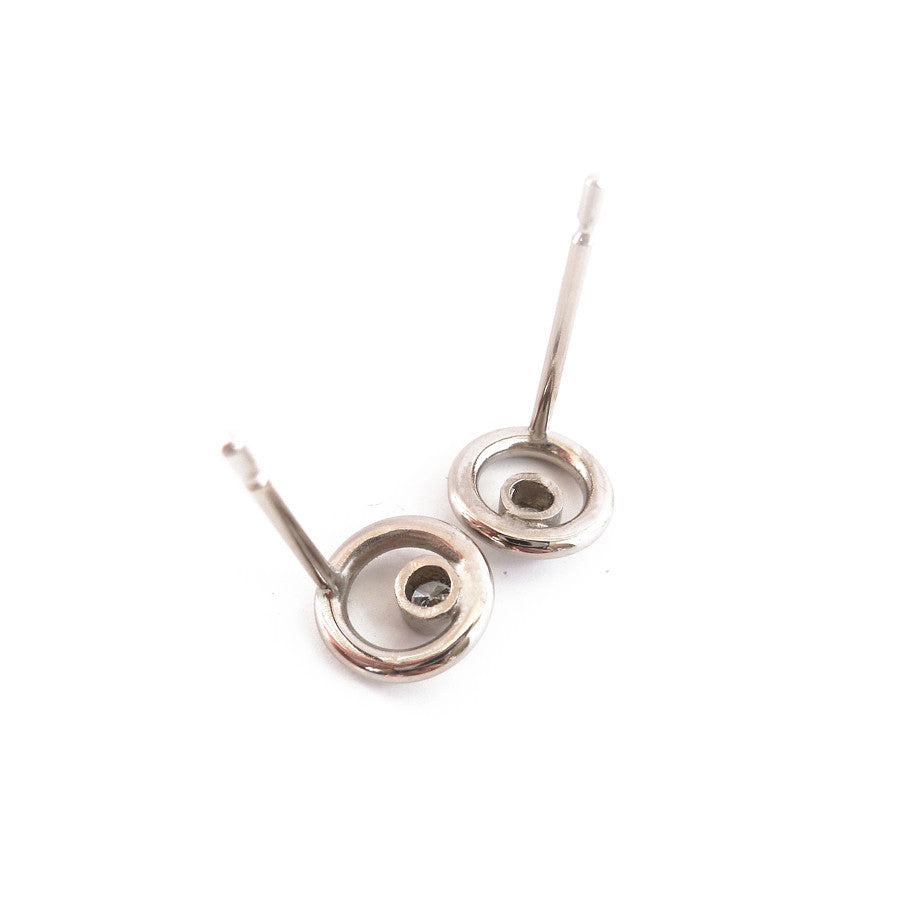 3e608e035 Contemporary and modern 18k white gold and diamond unique stud earrings  handmade by Sue Lane jewellery