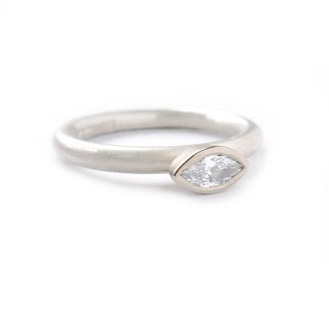 Contemporary, modern and bespoke Silver, 18k white Gold marquise Diamond stacking ring, handmade and commission Sue Lane Unique, alternative engagement ringset