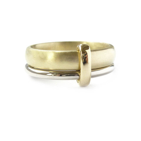 18ct white and yellow gold two band ring. Contemporary, modern and unique