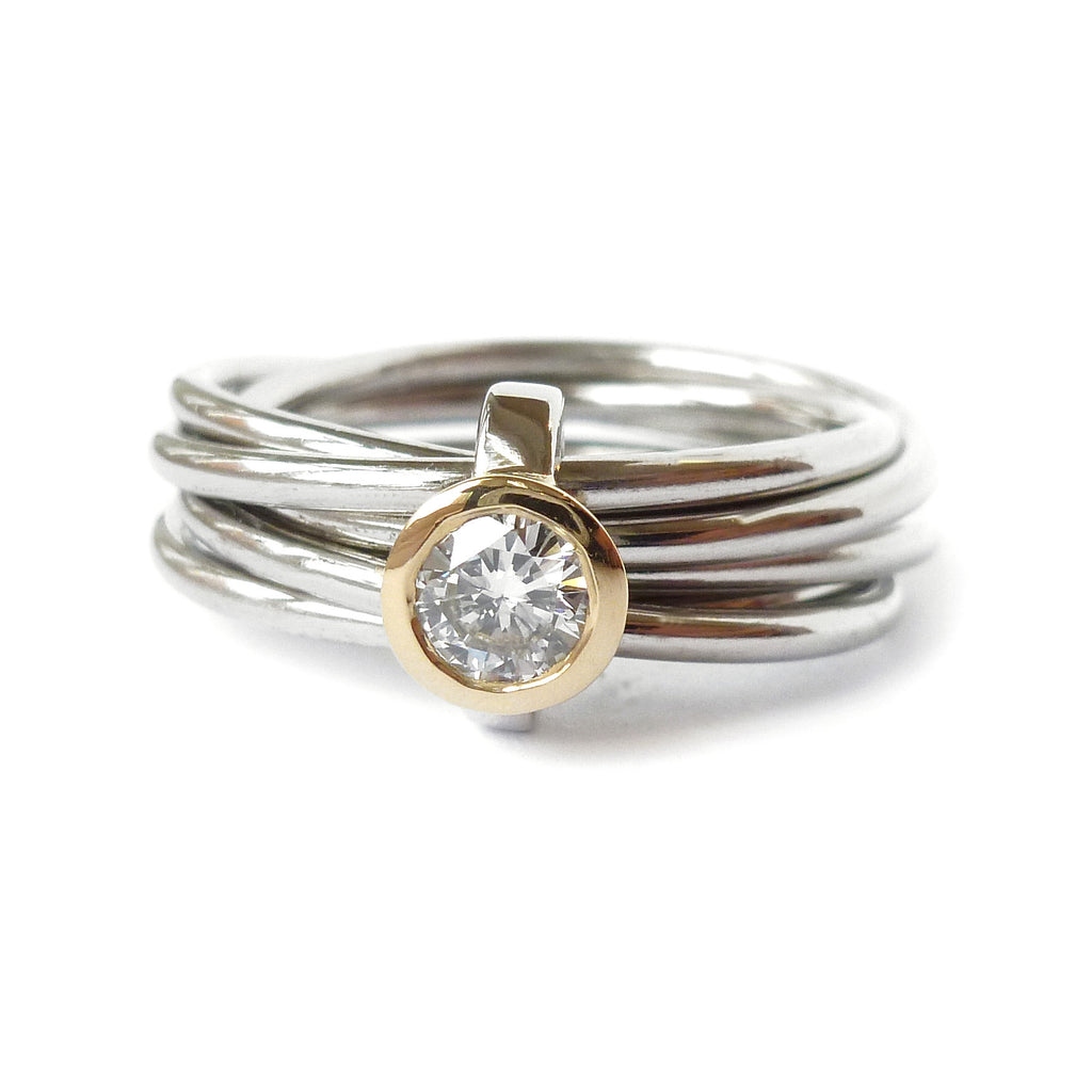 Unusual, unique, bespoke and modern Russian style palladium and diamond wedding ring, contemporary engagement ring, Handmade by Sue Lane in Herefordshire,
