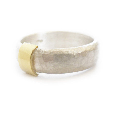 Unusual, unique, bespoke and modern men's hammered wedding ring in silver and rose gold. Matt / brushed finish. Handmade by Sue Lane Jewellery in Herefordshire