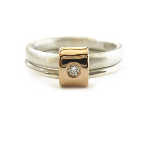 Unusual, unique, bespoke and modern two band silver, rose gold and diamond stacking ring with a brushed finish. Handmade by Sue Lane Contemporary Jewellery in Herefordshire, UK
