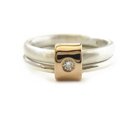 Contemporary Silver 18K Gold Rings