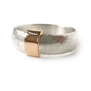 Unusual, unique, bespoke and modern men's wedding ring in silver and rose gold. Handmade by Sue Lane Jewellery in Herefordshire, UK. Unique wedding ring.