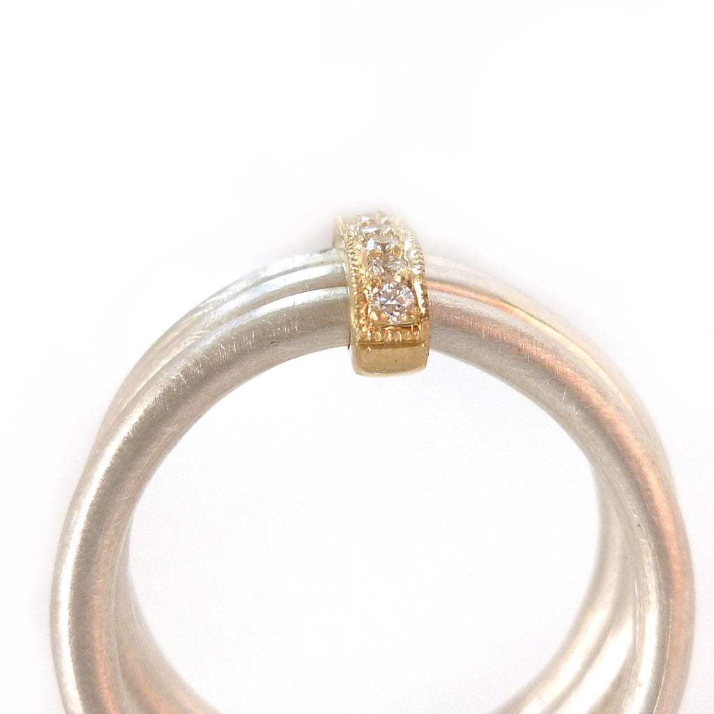 Silver, 18k gold ring with 7 diamonds (rdm3) - Sue Lane Contemporary Jewellery - 2