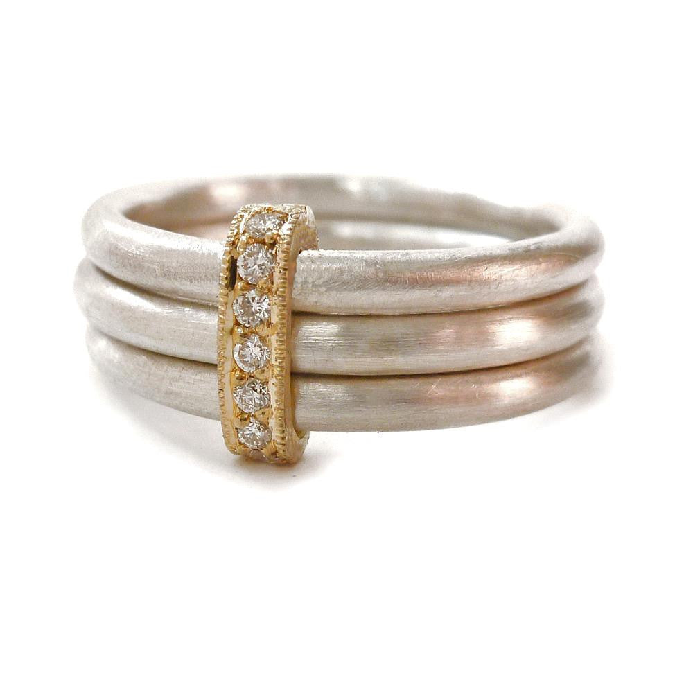 Silver, 18k gold ring with 7 diamonds (rdm3) - Sue Lane Contemporary Jewellery - 1