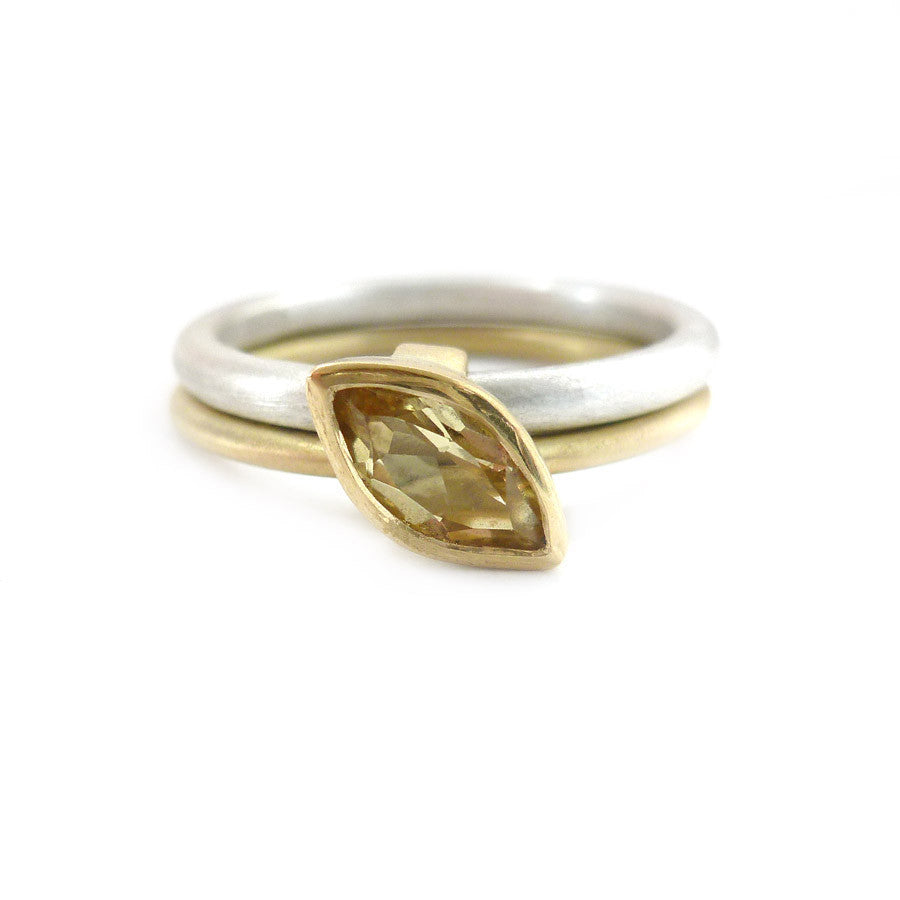 SOLD: Silver 18k Gold and Yellow Beryl Ring (OF12) - Sue Lane Contemporary Jewellery - 1