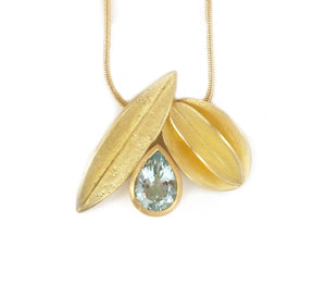 SOLD: 18k Gold and Aquamarine Necklace(OF18) - Sue Lane Contemporary Jewellery