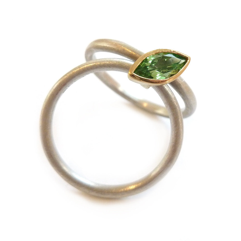 SOLD: 18k Gold and Mint Garnet Ring (OF15) - Sue Lane Contemporary Jewellery - 2