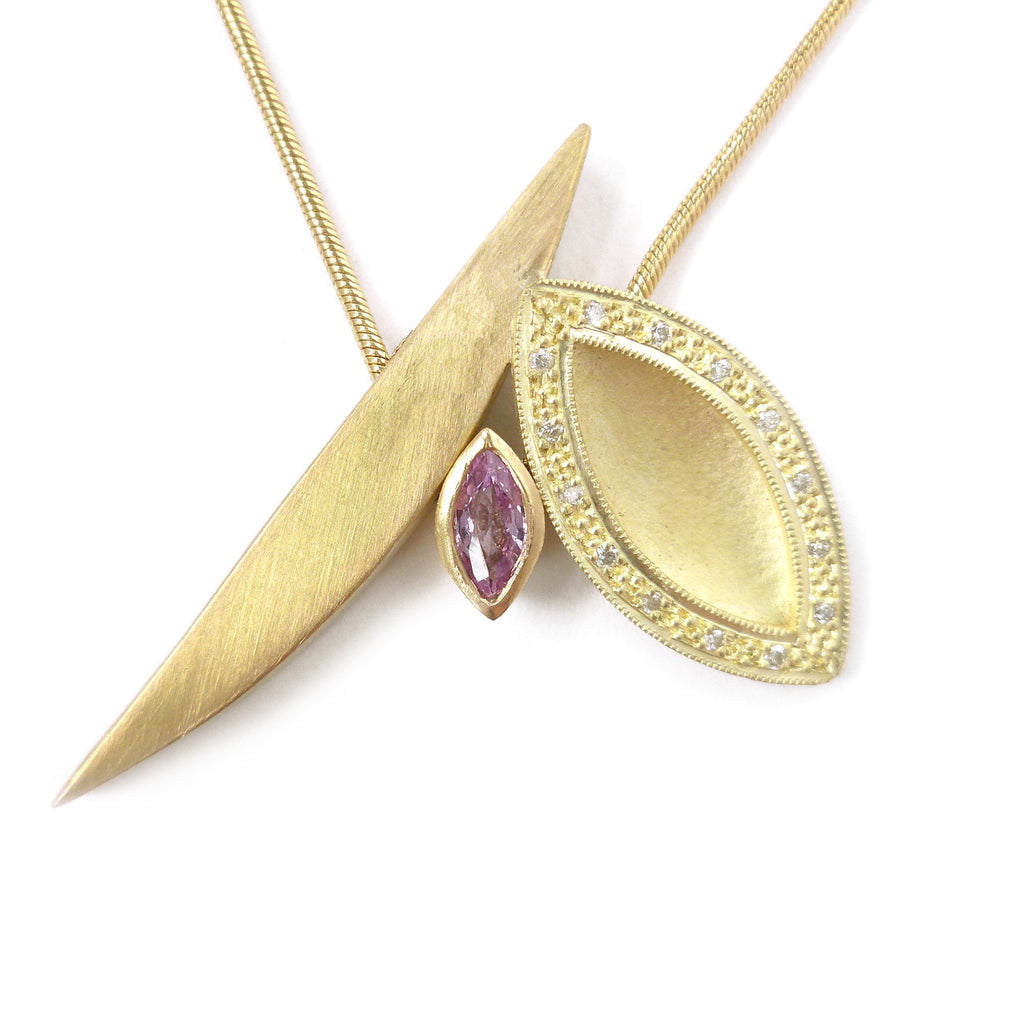 SOLD: 18k Gold and Pink Sapphire Necklace(OF19) - Sue Lane Contemporary Jewellery