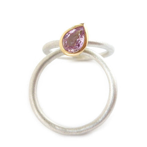Contemporary, modern silver, 18k gold and pink sapphire stacking ring handmade by Sue Lane jewellery. Bespoke and made to commission. Unique engagement ring.