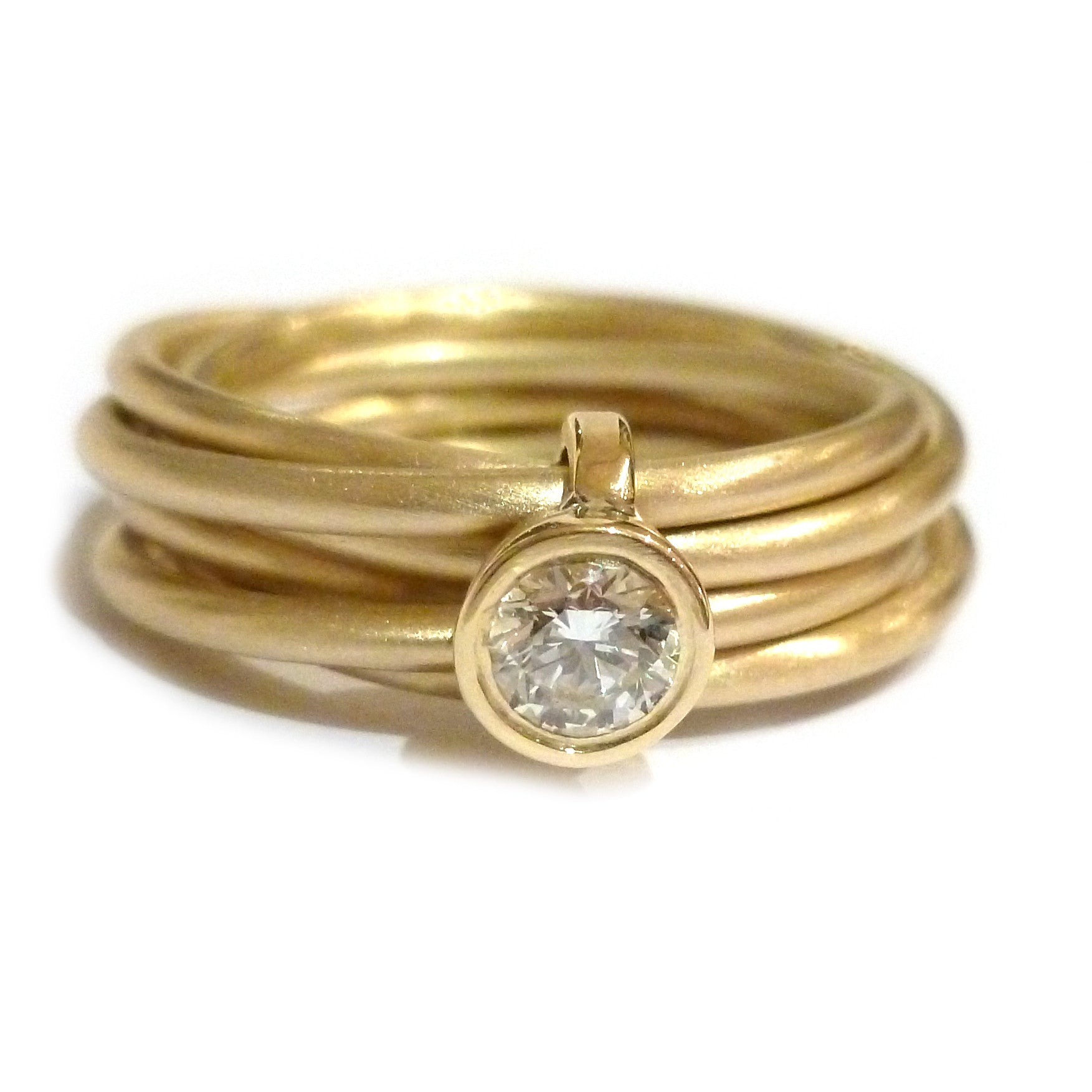 Contemporary, bespoke and modern 18k yellow gold russian style diamond wedding ring, commitment ring, eternity ring, brushed finish. Handmade by Sue Lane, UK. Unique engagement ring. Multi band ring or interlocking ring.