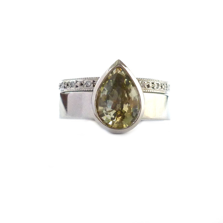 Unusual, unique, bespoke and modern palladium yellow/green sapphire engagement and wedding ring set, eternity ring, Handmade by Sue Lane in Herefordshire, UK