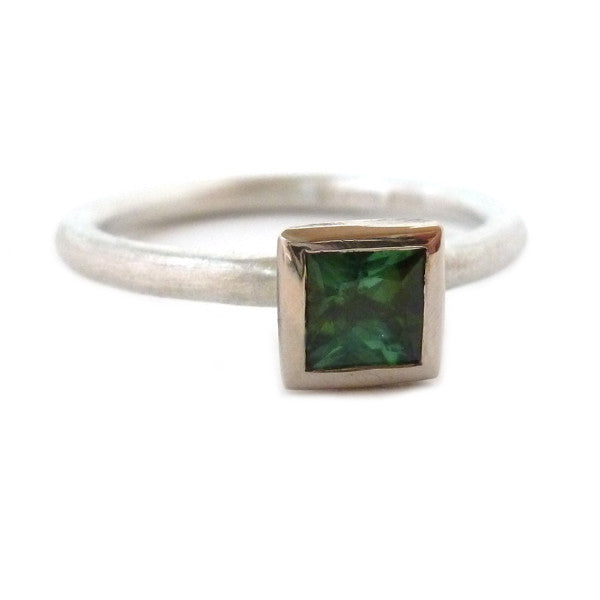 Unusual, unique, bespoke and modern three band stacking ring in silver and gold with green tourmaline Handmade by Sue Lane Jewellery in Herefordshire, UK