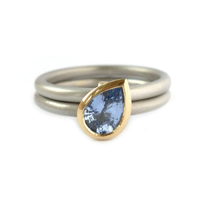 Unusual, unique, bespoke and modern palladium and cornflower blue sapphire wedding ring, eternity ring, engagement ring, Handmade by Sue Lane in Herefordshire,