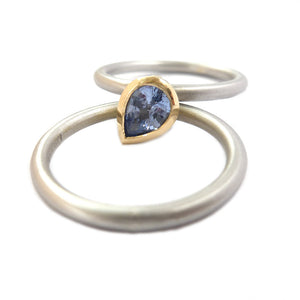 Unusual, unique, bespoke and modern platinum and cornflower blue sapphire wedding ring, eternity ring, engagement ring, stacking ring, Handmade by Sue Lane in Herefordshire,