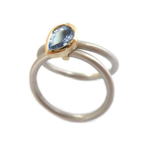 Unusual, unique, bespoke and modern platinum and cornflower blue sapphire wedding ring, eternity ring, engagement ring, Handmade by Sue Lane in Herefordshire,