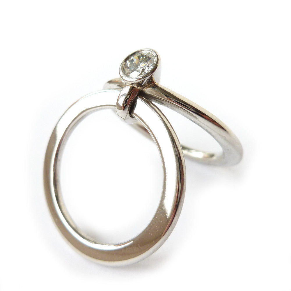 Unusual, unique, bespoke and modern 2 band stacking diamond and platinum chunky engagement ring, Handmade by Sue Lane Contemporay Jewellery in Herefordshire, UK