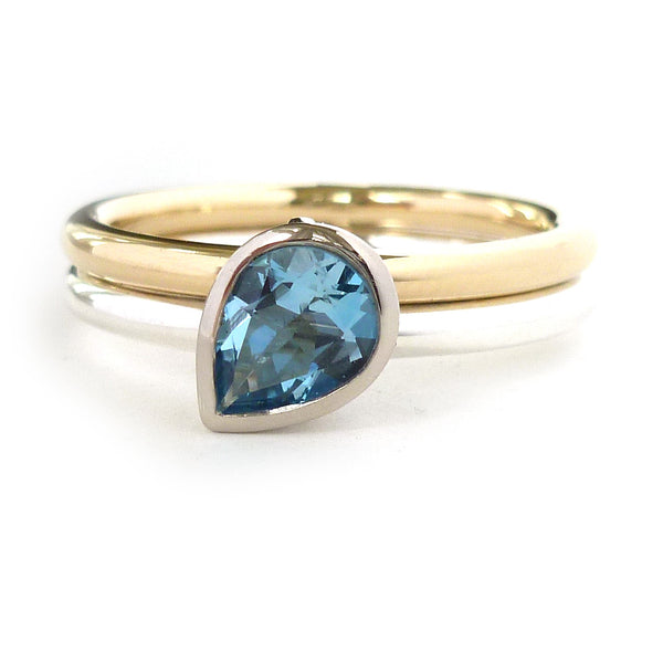 Contemporary silver and gold ring, stacking, aquamarine handmade ring, Two bands, Sue Lane,  pear shape.