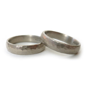 White gold hammered ring (gpr02) - Sue Lane Contemporary Jewellery - 3