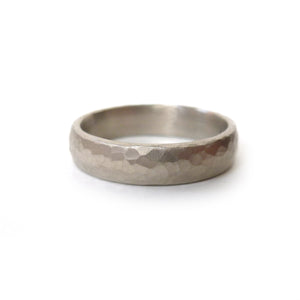 White gold hammered ring (gpr02) - Sue Lane Contemporary Jewellery - 2