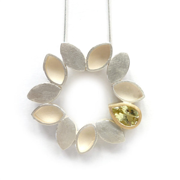 NEW: Silver and Beryl Necklace (fdsn10b) -Contemporary, modern, unique handmade silver and gold necklace, everyday, feature, necklace, pendant by Sue Lane Jewellery