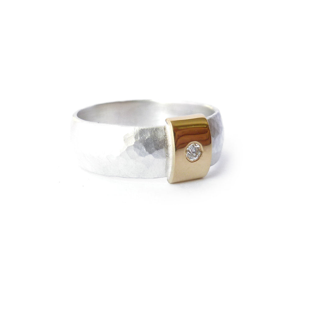 Contemporary and modern silver and 18k rose, yellow gold and diamond handmade ring with a brushed finish by Sue Lane jewellery. Men's wedding ring.