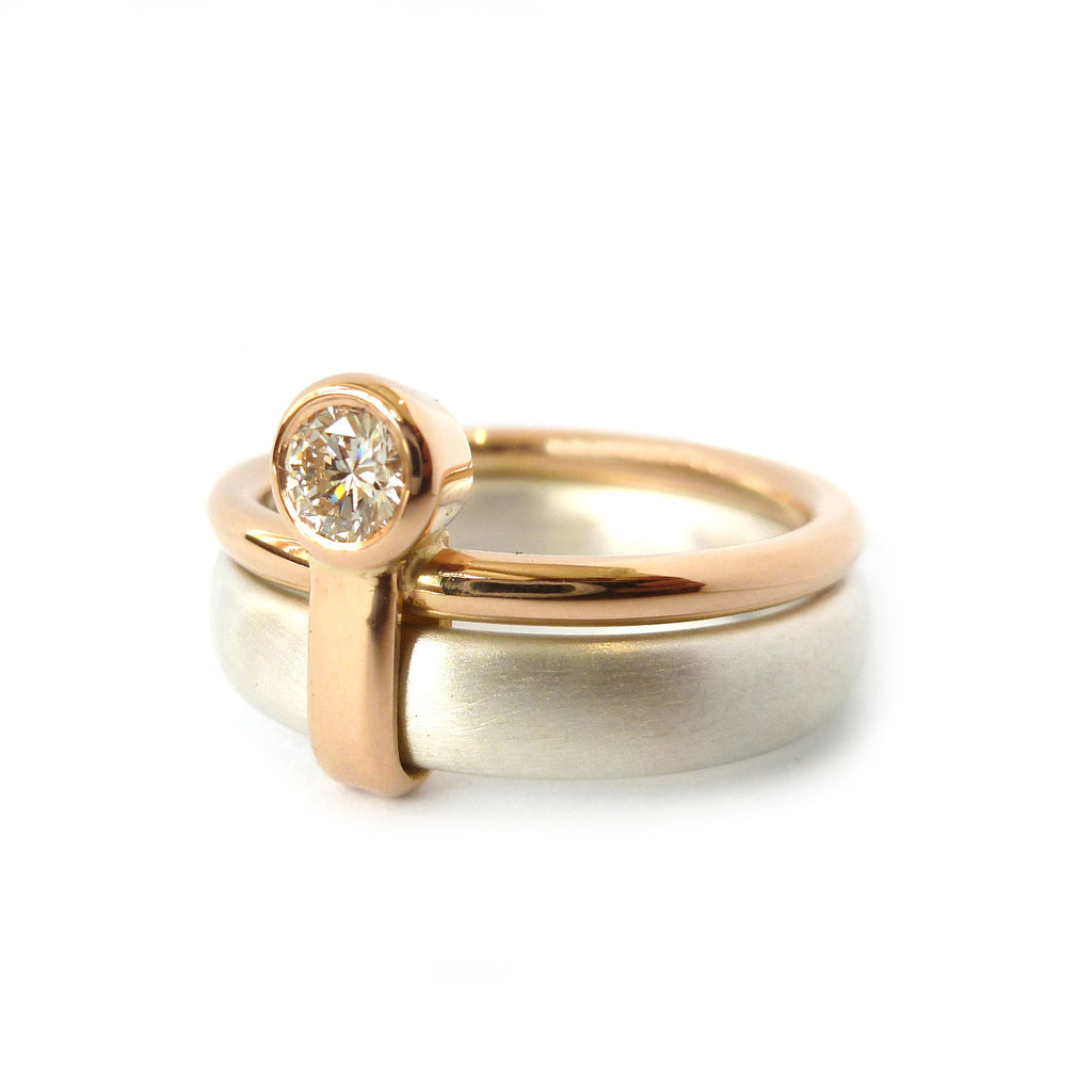 Contemporary, bespoke and modern 18k yellow gold and silver wedding ring, commitment ring, eternity ring, matt brushed finish. Handmade by Sue Lane in Herefordshire, UK