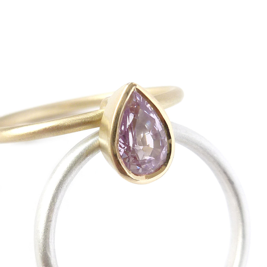 NEW: Silver, 18k gold and pink sapphire (nr9) - Sue Lane Contemporary Jewellery - 2