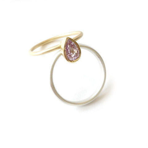 NEW: Silver, 18k gold and pink sapphire (nr9) - Sue Lane Contemporary Jewellery - 3