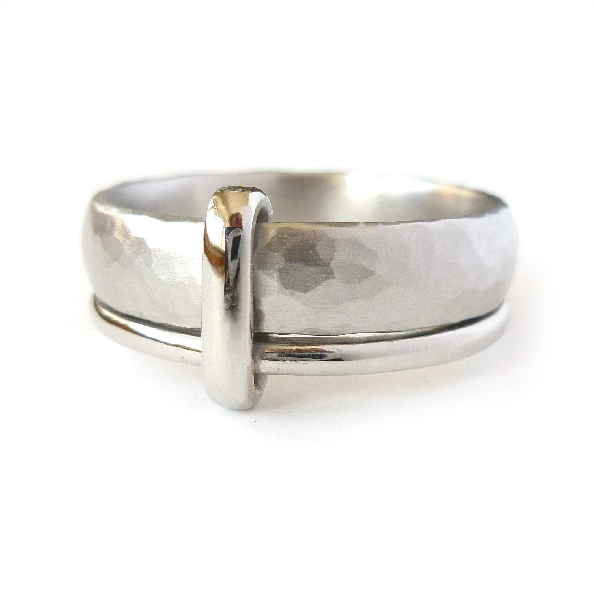 Contemporary, unique and modern platinum mens wedding ring or engagement ring, handmade by Sue Lane Jewellery. Bespoke ring can be made in different sizes.