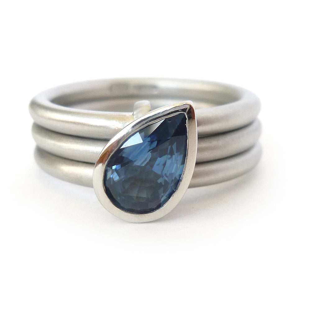 Platinum and Cornflower Blue Sapphire Ring (plr17)