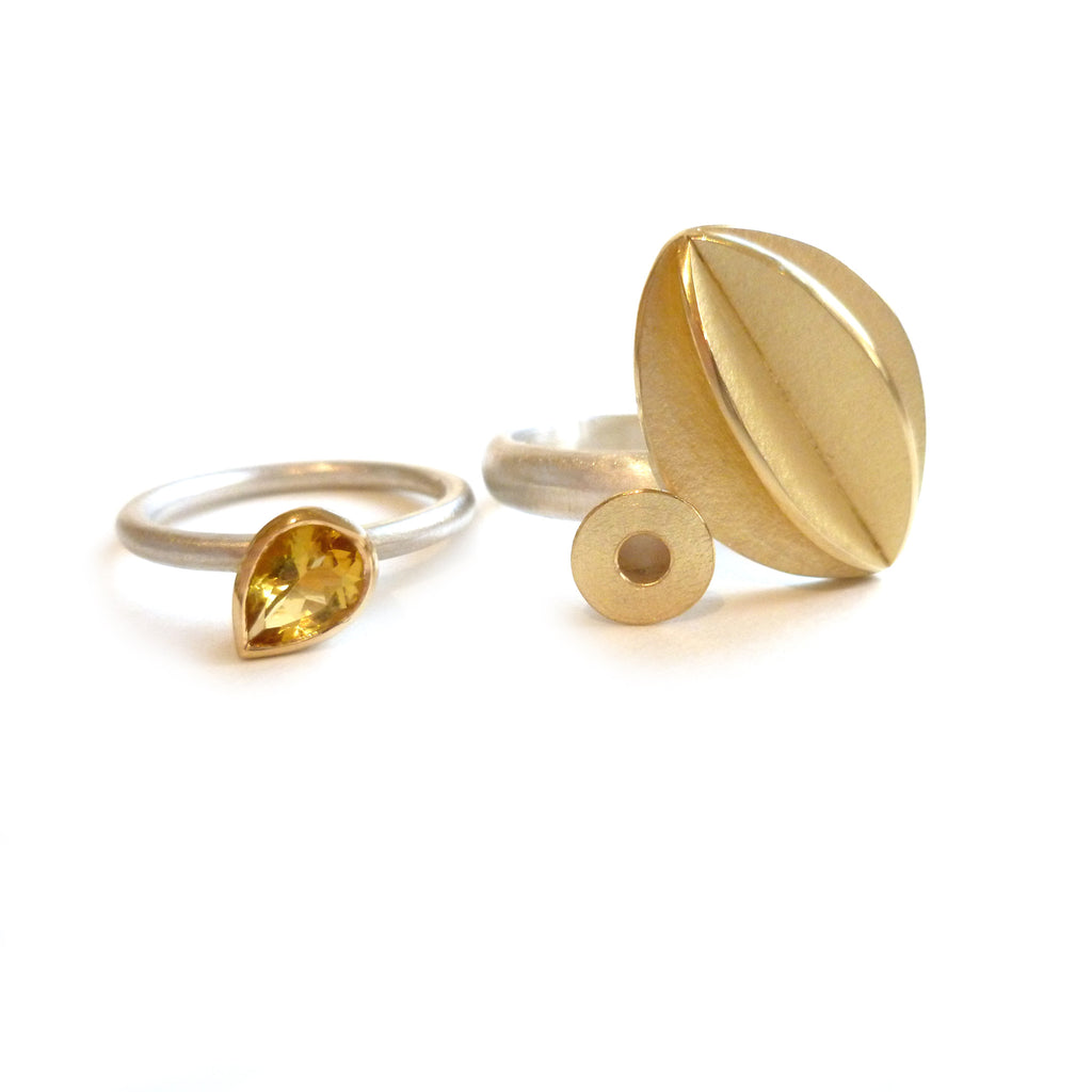 SOLD: Silver, 18k gold and Yellow Sapphire Ring (OF43) - Sue Lane Contemporary Jewellery - 2