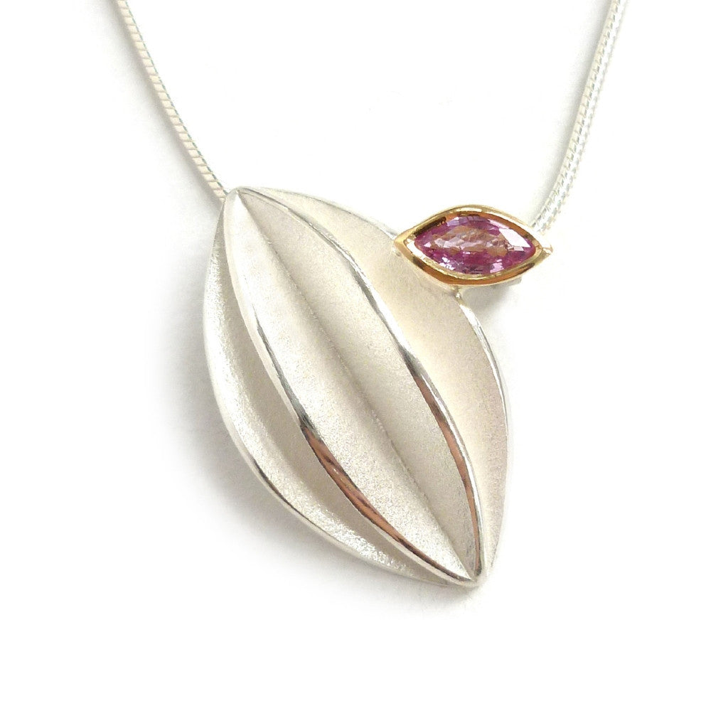 NEW: Silver and Pink Sapphire Necklace (fdsn13) - Contemporary, bespoke and modern silver 18k yellow gold pendant, necklace with pink sapphire and a matt brushed finish. Handmade by Sue Lane in Herefordshire, UK