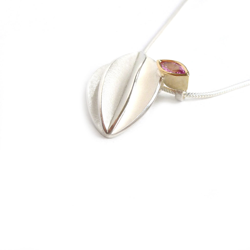 NEW: Silver and Pink Sapphire Necklace (fdsn13) Contemporary, bespoke and modern silver 18k yellow gold pendant, necklace with pink sapphire and a matt brushed finish. Handmade by Sue Lane in Herefordshire, UK
