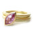 Unusual, unique, bespoke and modern statement gold and marquise pink sapphire stacking ring set handmade by designer maker Sue Lane contemporary Jewellery, UK