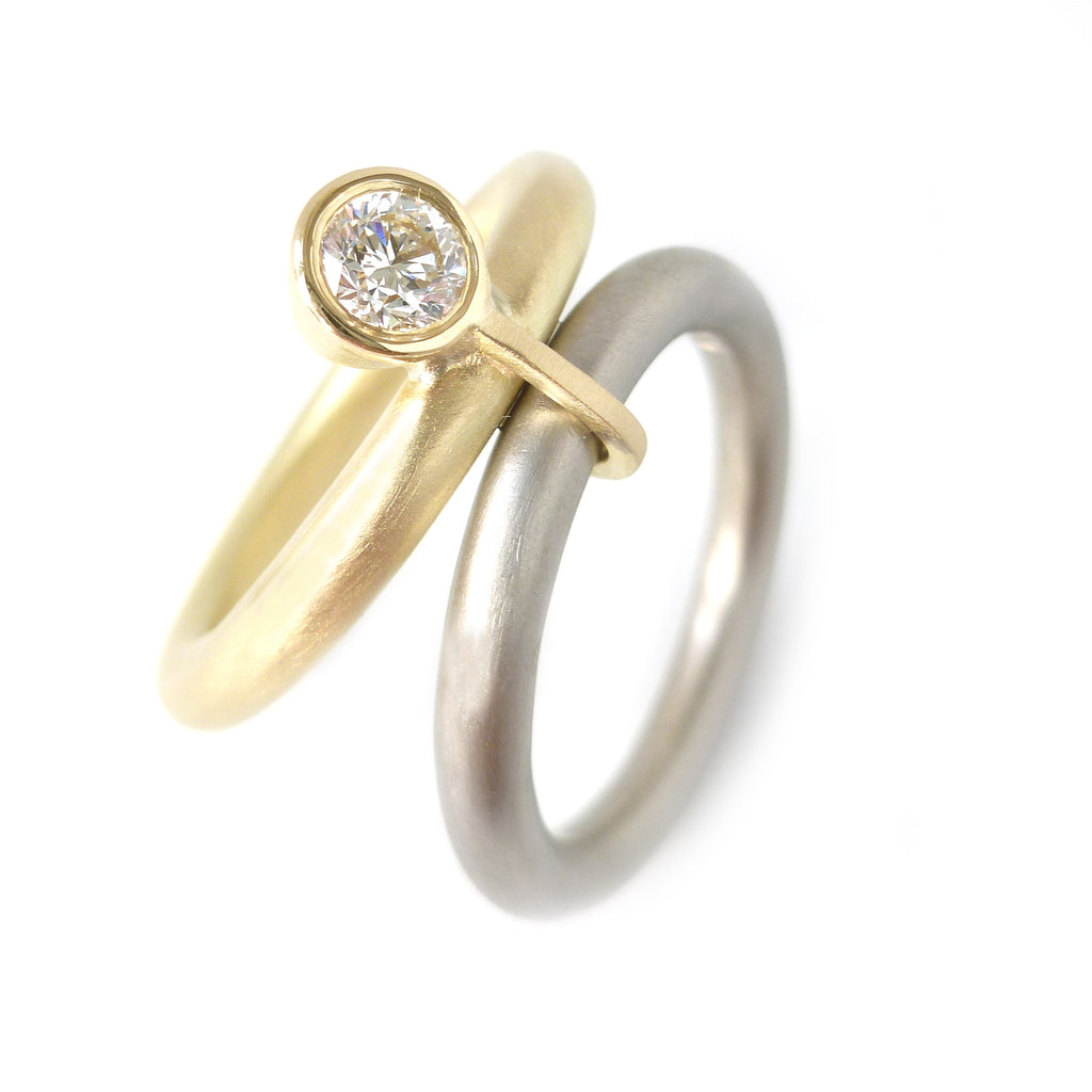 Contemporary, bespoke and modern 18k gold two band stacking wedding ring, commitment ring, eternity ring, matt brushed finish. Handmade by Sue Lane, UK