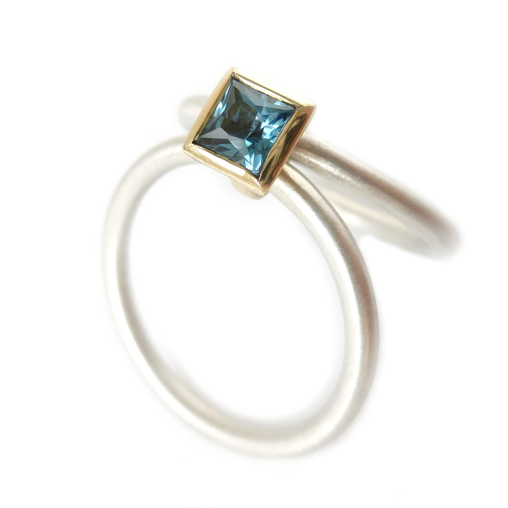 Contemporary dark blue aquamarine, silver and 18k gold stacking ring,  handmade and to commission by Sue Lane Jewellery UK. Modern engagement / wedding ring