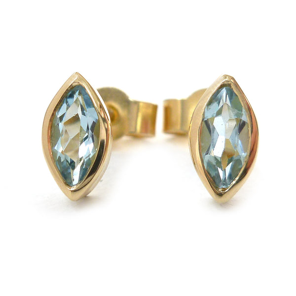 Contemporary, modern, and bespoke blue aquamarine, marquise stud earrings, 18t gold, handmade by Sue Lane Contemporary jewellery, To commission or buy