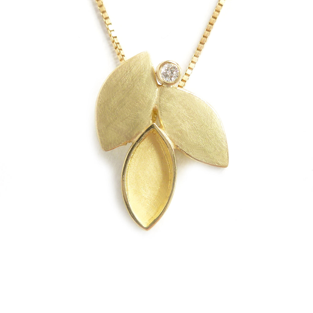 Contemporary, bespoke and modern 18k yellow gold pendant, necklace with a matt brushed finish. Handmade by Sue Lane in Herefordshire, UK