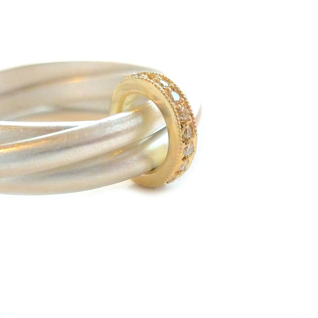 Usual, unique, bespoke and modern 18k yellow gold, diamond and silver wedding ring, eternity ring, brushed finish. Handmade by Sue Lane in Herefordshire, UK