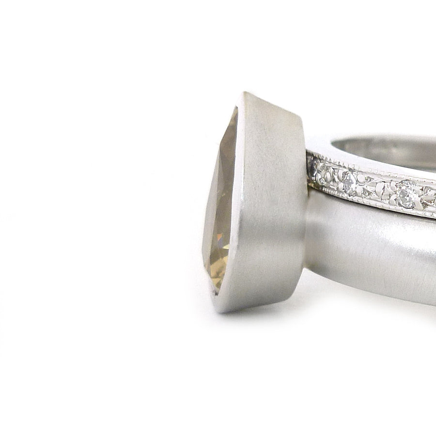 SOLD: Platinum, Green Sapphire and Diamond Ringset (OF35) - Sue Lane Contemporary Jewellery - 1