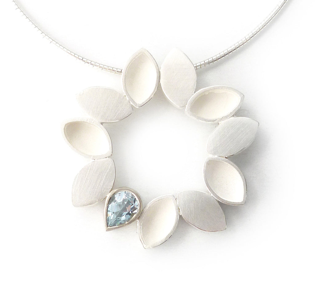 NEW: Silver and Aquamarine Necklace (fdsn10a) - Contemporary, bespoke,modern and handmade silver and aquamarine necklace, necklace/pendant by Sue Lane Jewellery