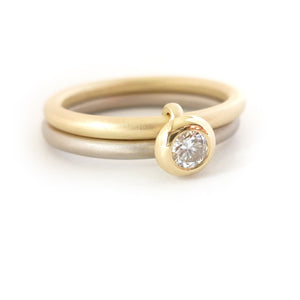 Contemporary, bespoke and modern 18k white and yellow gold two band stacking diamond wedding ring, engagement ring, matt brushed finish. Handmade by Sue Lane UK