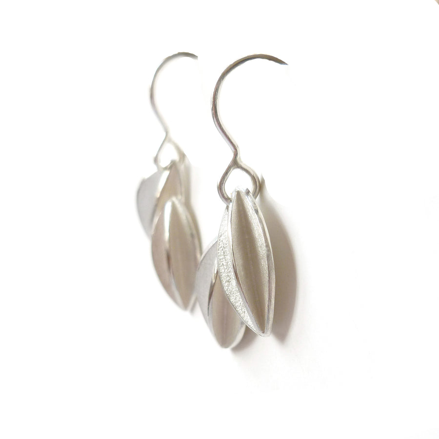 Contemporary and modern silver hook wire earrings handmade by Sue Lane jewellery