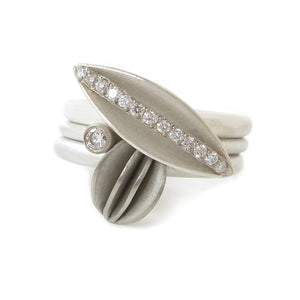 NEW: Silver, 18k Gold and Diamond Ring (OF29) - Sue Lane Contemporary Jewellery