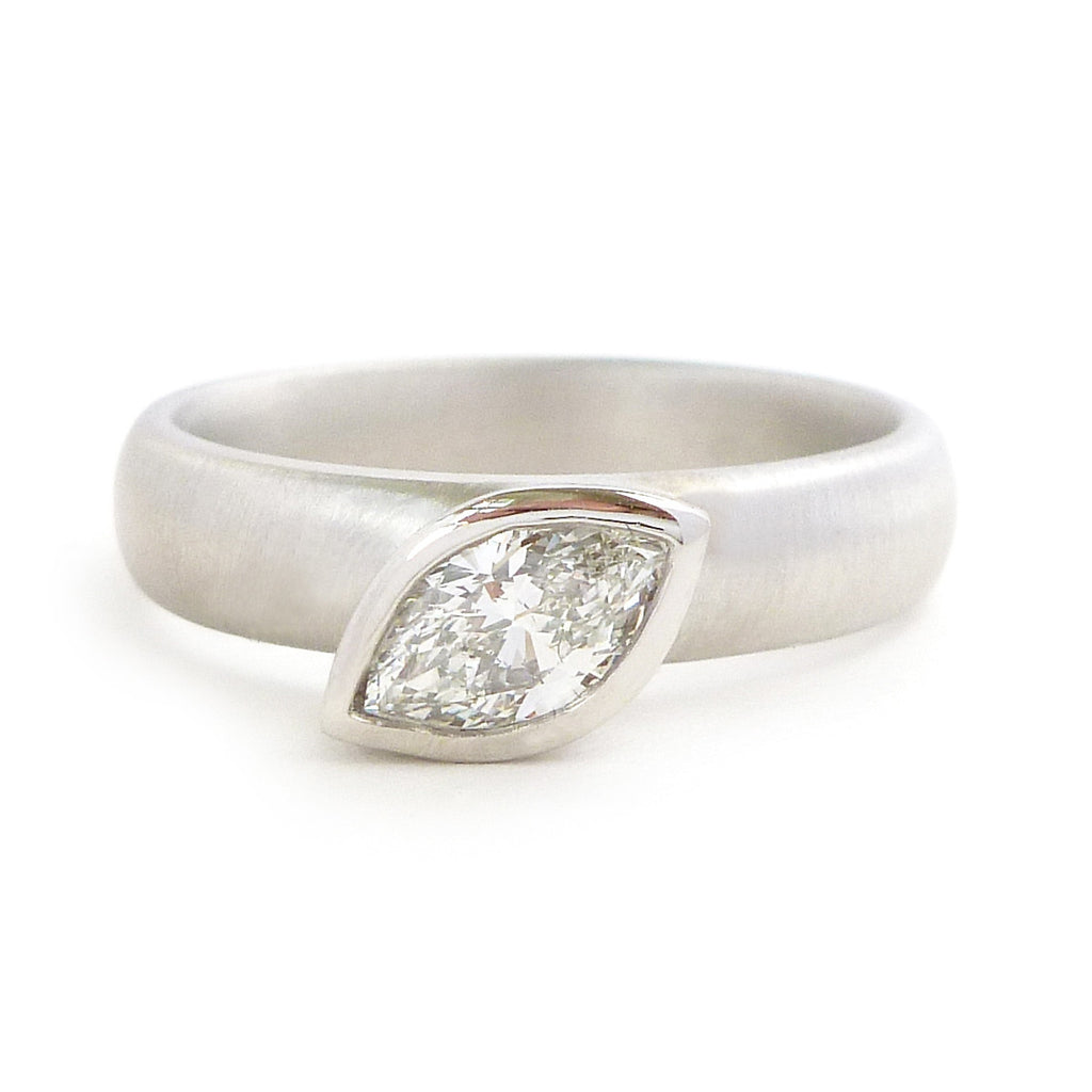 Contemporary, unique, bespoke and modern platinum wedding ring, engagement ring, eternity ring, matt brushed finish. Handmade by Sue Lane in Herefordshire, UK