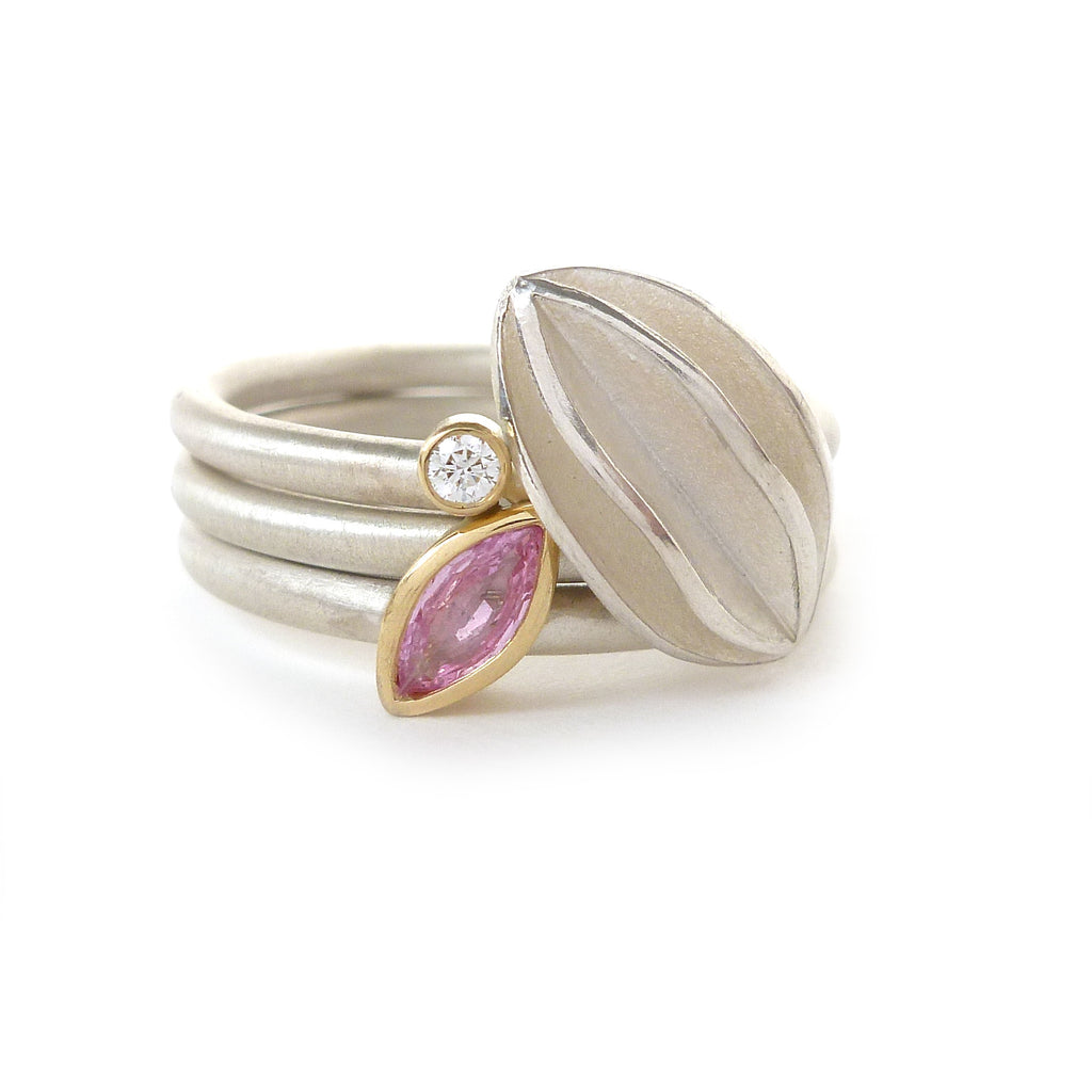 Contemporary, modern and bespoke Silver, 18k Gold and baby pink sapphire handmade stacking ring, by Sue Lane Jewellery. Unique, alternative engagement ring