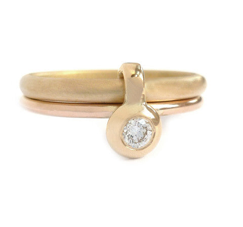 Contemporary, bespoke and modern 18k yellow gold wedding ring, commitment ring, eternity ring, matt brushed finish. Handmade by Sue Lane in Herefordshire, UK